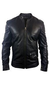 Mens Leather Jacket Real Genuine Vintage Black Slim Fit Designer Biker