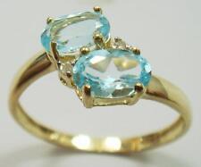 LADY'S 10KT YELLOW GOLD BLUE TOPAZ & DIAMOND RING SIZE 7 NR!    R958