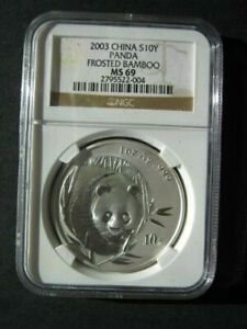 China 2003, WWF Panda 10 Yuan Silber, UNC MS69, Frosted Bamboo (p011)