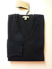 NWT Burberry Brit Dockley V-Neck XFine Merino Wool Sweater (Navy; Size M) US$295