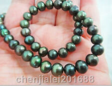 "HUGE 36""10-11 MM NEAR TAHITIAN BLACK GREEN PEARL NECKLACE"