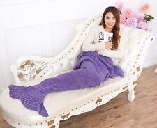 MERMAID TAIL SOFA BLANKET WARM CROCHETED KNIT LAPGHAN CREWEL COVERLET PURPLE