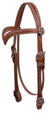 Showman MEDIUM OIL Leather Headstall w/ Copper Celtic Knot Concho NEW HORSE TACK