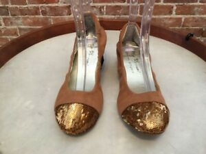 Matt Bernson Cognac Suede & Sequins Captoe Ballet Flats NEW