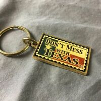 Dont Mess With Texas Keychain Keyring Red White Blue Metal Flag