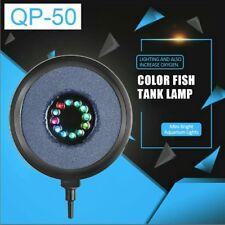 LED Air Stone Bubble Disk RGB LED Light Fish Tank Aquarium W/ Airline Betta