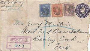 N1185  Townsend Montana USA 1946 Reg 3 Prexie stamp (30,10,7) uprate 3c PSE Eire