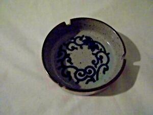 Pottery Art Deco Design Craft Ashtray -Stoneware -Round - Tan & Blue Vintage