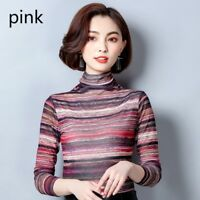 Lady Mesh Striped Shirt Slim Tops Turtle Neck Blouse Long Sleeve Pullover Casual