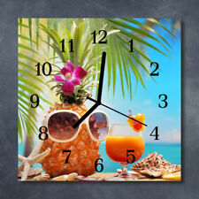 Glass Wall Clock Kitchen Clocks 30x30 cm silent Vacation Multi-Coloured