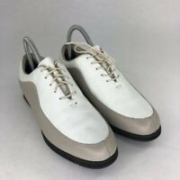 FootJoy Womens Golf Shoes White Gray Color Block Almond Toe Lace Up Spikes 8.5 M