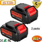 for Dewalt 20V 20Volt Max XR 6.0AH Lithium Ion Battery DCB206-2 DCB205-2 2 Pack
