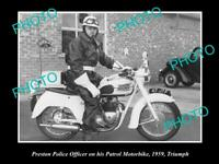OLD POSTCARD SIZE PHOTO OF PRESTON POLICE PATROL MOTORCYCLE c1966 UK TRIUMPH