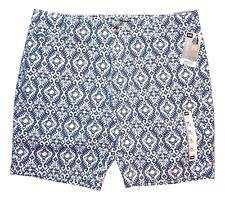 Lee Women's Size 16 M Blue & White Print Midrise Fit Bermuda Shorts New $44