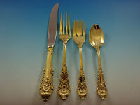 Sir Christopher Gold by Wallace Sterling Silver Flatware Service Set 12 Vermeil