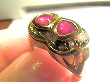 Sterling silver 925 RING  natural emerald ruby yellow GOLD natural duo SIZE 7