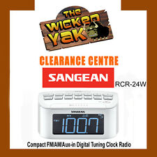 Sangean Compact Stereo FM/AM/Digital Tuning Clock Radio/Aux In-RCR-24W-NEW
