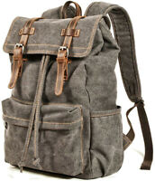 Men Travel Canvas Backpack Rucksack Camping Laptop Hiking School Military Bag