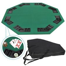 "48"" Folding Octagon Poker Card Game Table Top w/Cup Chip Holders Blackjack Party"