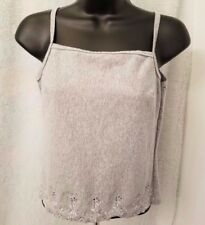 Anxiety Cafe Juniors Womens Gray w/ Floral Design Cami Tank Top Shirt Size M