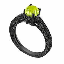 0.70 Carat Peridot Engagement Ring, Wedding Ring 14K Black Gold Vintage Antique