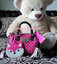 🦋 BETSEY JOHNSON Purse WALLET Set PINK Fox WRISTLET BLACK Crossobdy TASSEL Bag