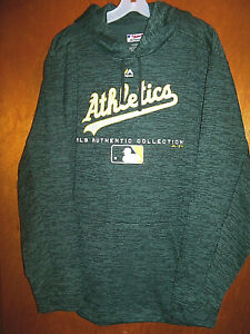 VTG Majestic Authentic Oakland A's Baseball Thermafit Hoodie Sweatshirt XL
