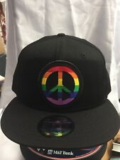 New Era NE400 Black Flat Brim Snapback Hat/Cap Peace Sign Rainbow Gay Pride LGBT