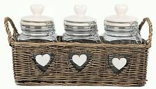 Triple Heart Glass Food Storage Jars With Clip Flip Top Lids in Wicker Basket