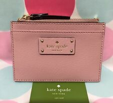 NEW Kate Spade Adi Grove Street Leather Card/Coin Zip Mini Wallet PinkBonnet $59