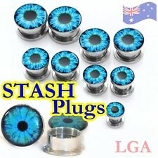 11 x Blue Seeing Eye Screw Fit Stash Plug 316L 3mm - 20mm Free Postage C