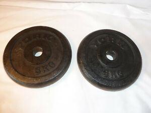 2 x 5KG York Cast Iron Weights