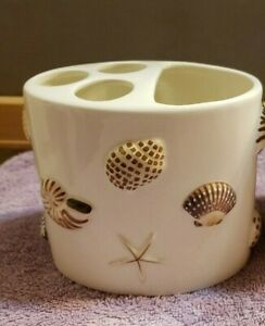 Ceramic Toothbrush and Toothpaste Holder Seashells Beach Ocean by Allure 2005