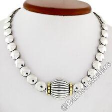 Lagos Caviar Silver & 18K Yellow Gold Heavy Ball Bead Scalloped Pendant Necklace