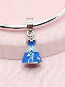 Disney Cinderella's Blue Dress Charm For European Charm Bracelets & Necklaces
