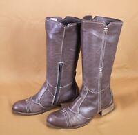 3S DMN Damen Stiefel Biker Boots weiches Leder Gr. 37 braun flach wadenhoch