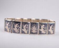 Sterling Silver Niello Siam Black Bracelet Multiple Gods & Goddesses