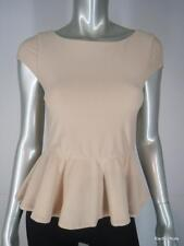 ALICE OLIVIA XS Nude Tan Poly Stretch Peplum Boat Neck Cap Sleeve Top Blouse