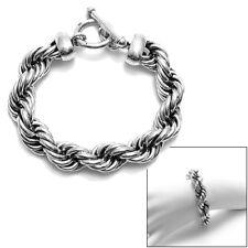 Wide Braided Twist Rope Bracelet Stunning 925 Sterling Silver 8.75 inch