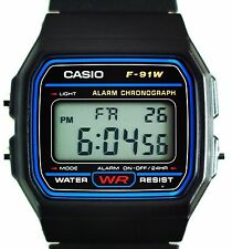 Genuine Black Casio Retro Watch Vintage F91w1 F-91w-1jf Digital Alarm Aus Stock