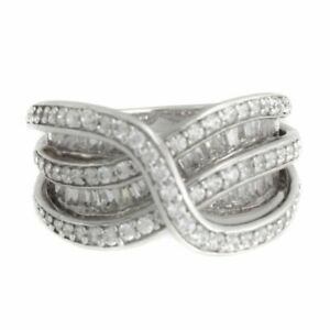 hsn Victoria Wieck Platinum Plated Absolute Overlay Bridge Band Ring Size 7