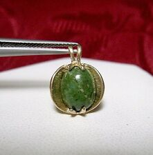 10K YELLOW GOLD OVAL GREEN  CABOCHON BLOOD STONE OR JADE TEXTURED PENDANT