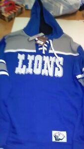 MITCHELL & NESS WOMEN'S Detroit Lions Fleece Lace Hoodie Throwback Size XXL NEW