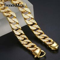Miami Curb Cuban Necklace Chain Gold Plated Stainless Steel Cubic Zirconia 12mm
