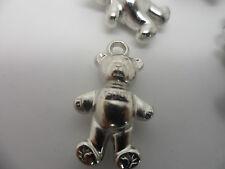 10 Acrylic/Plastic Teddy Bears~Pendants/Beads/Charms Jewellery craft 26x15x8mm