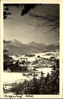 Siegsdorf Postkarte 1952 gelaufen Gesamtansicht im Winter Schnee Berge