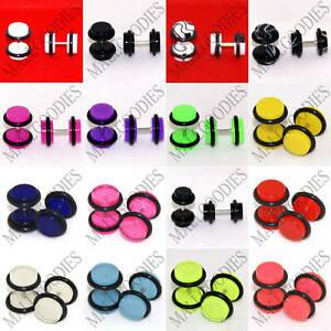 V011 Fake Faux Cheaters Illusion 16G Ear Plugs Earrings Studs 4G 2G 0G 00G 1/2""