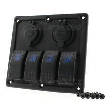 12V Car Marine Boat 4-Gang Waterproof Circuit LED Rocker Switch Panel Breaker