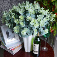 16 Heads Artificial Fake Leaf Eucalyptus Green Plant Leaves Flowers Home DecTTT