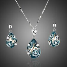 Platinum Plated Blue Made With Swarovski Crystal Earring Pendant Necklace Set436